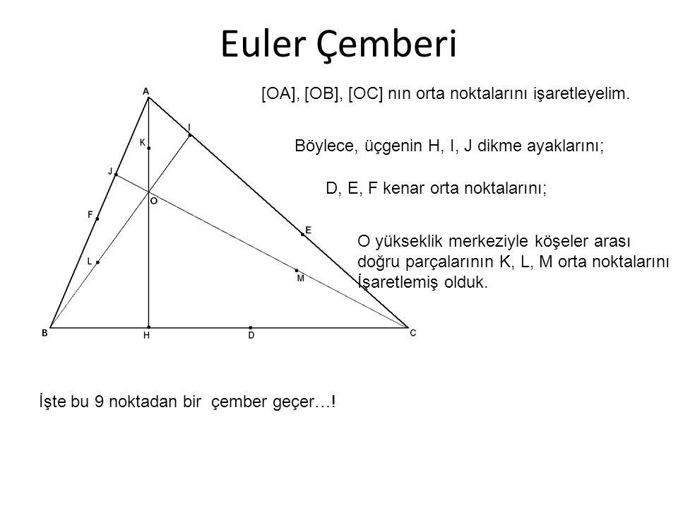 Euler Çemberi [OA], [OB], [OC] nın orta noktalarını işaretleyelim.